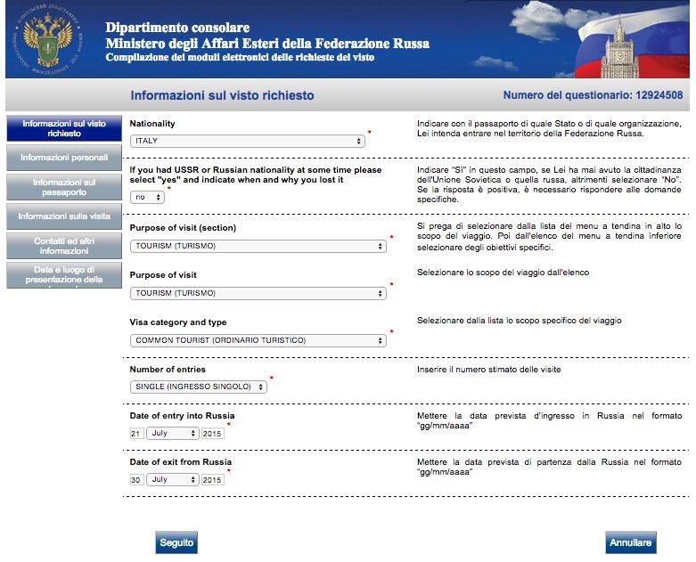 2 Modulo di richiesta del visto Russia