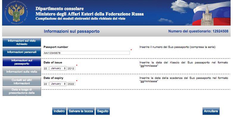 4 Modulo di richiesta del visto Russia