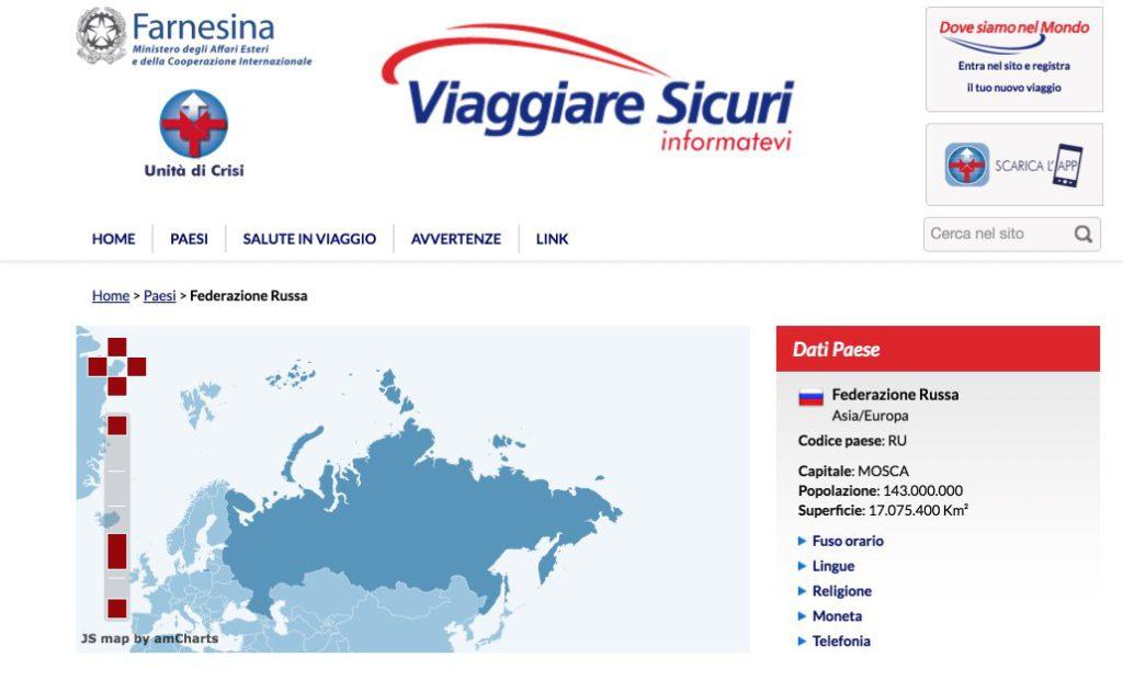 Russia Sicurezza turisti - raccomandazioni viaggio