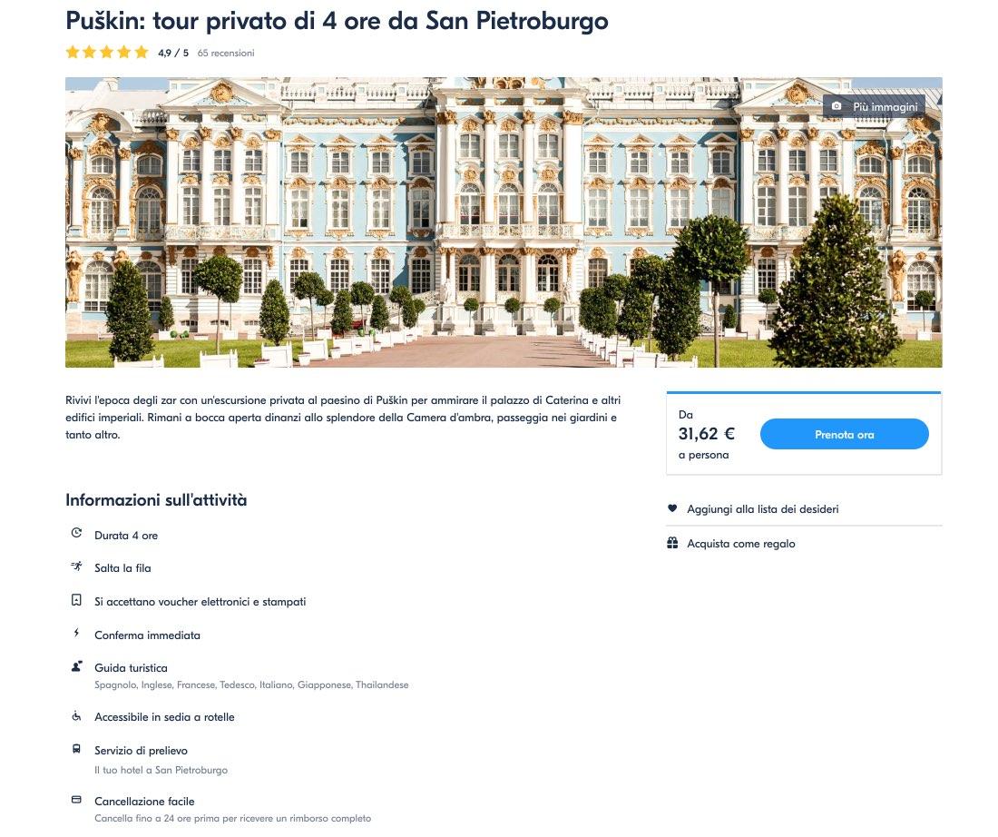Puskin - tour privato di 4 ore da San Pietroburgo - Caterina palazzo