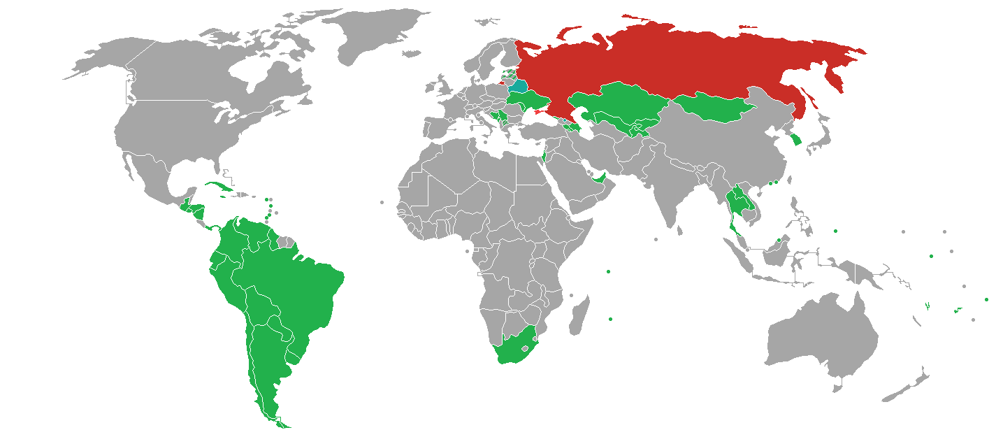 Politica dei visti per viaggiare in Russia - Mappa