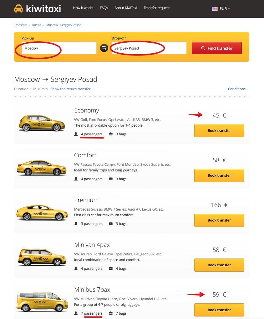 Taxi Mosca - Sergiyev Posad Anello Oro Russia