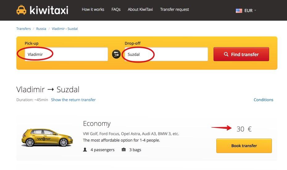 Taxi Vladimir - Suzdal Anello Oro Russia