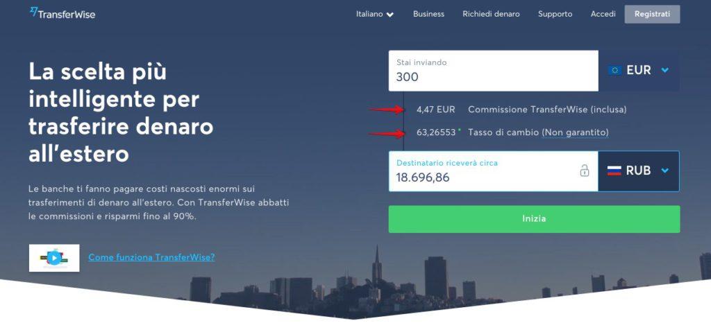 Trasferisci denaro online TransferWise