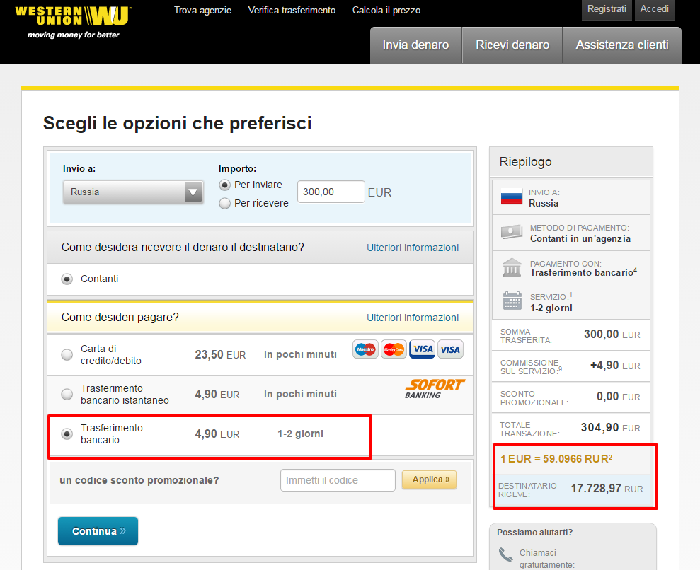 Western Union - Invio di denaro da Italia a Russia