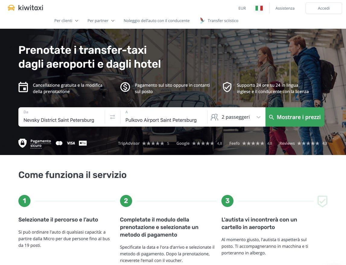 Sistema Kiwitaxi Prenotazione dei transfer taxi per aeroporto e citta in San Pietroburgo