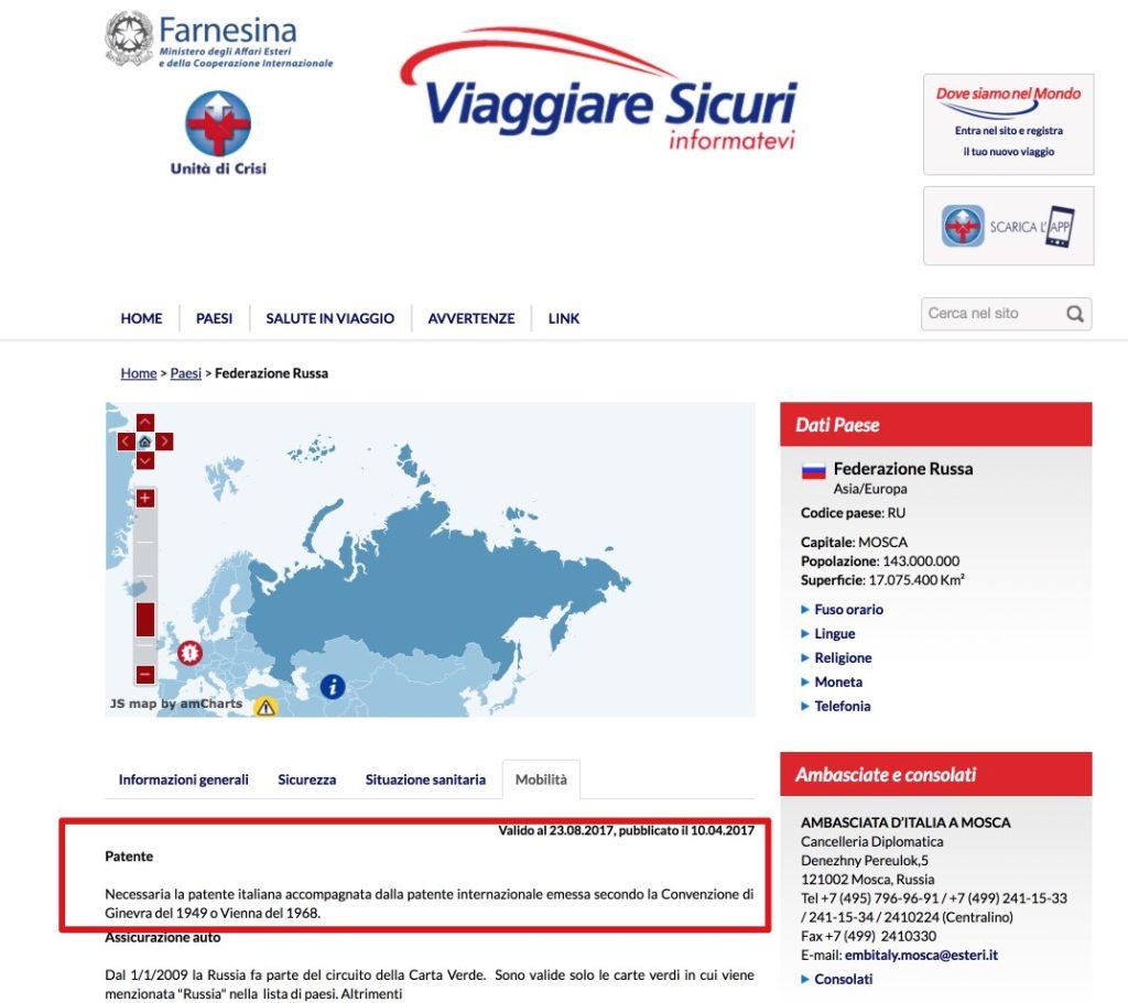 Dettaglio - Viaggiare Sicuri Russia - Patente italiana internazionale