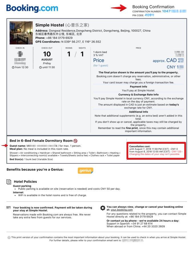 Prenotazione di hotel in booking.com per visti in Cina