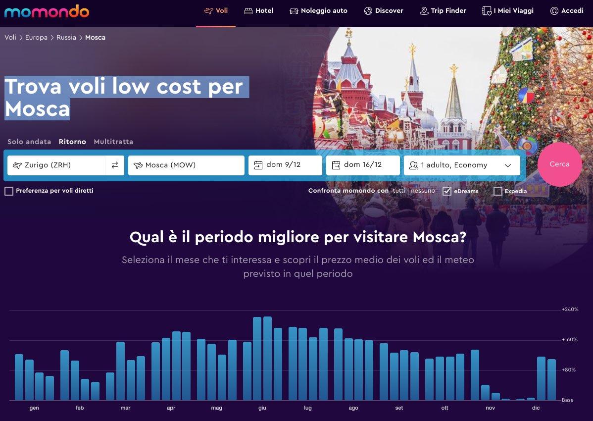 Trova voli low cost per Mosca - Momondo