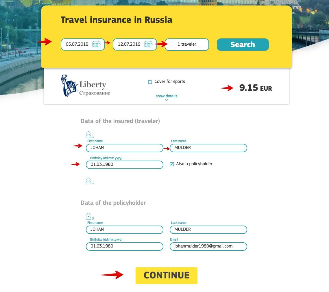 Assicurazione di viaggio in Russia online - Cherehapa