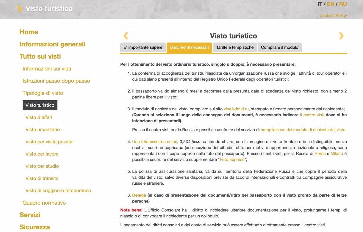Documentazione necessaria per elaborare il visto russo