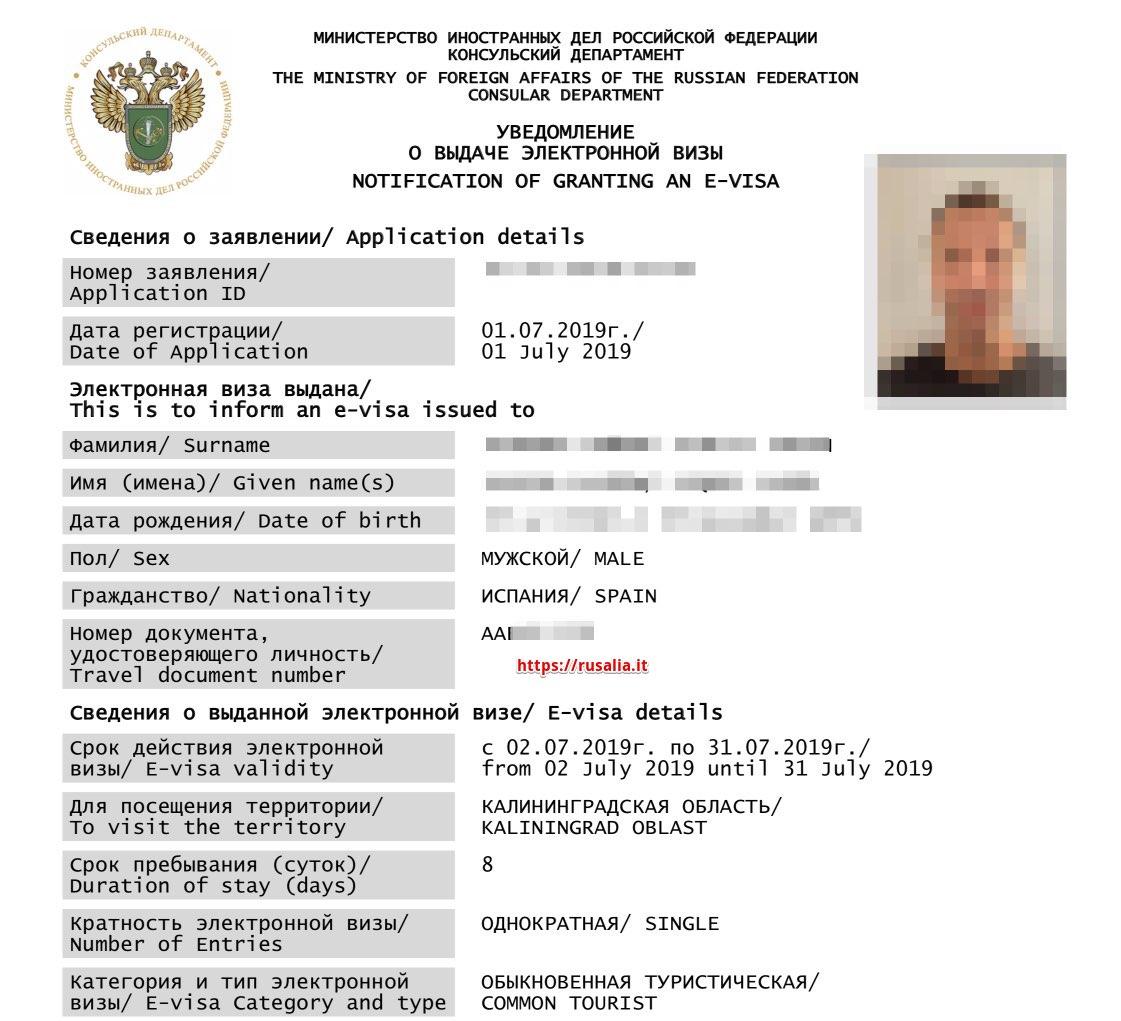 e-visa Russia Esempio - Immagine in primo piano